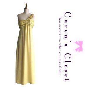 Vintage Lemon Yellow One Shoulder Maxi Dress